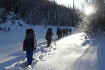 зимний поход в тайгу, на лыжах по сибирской тайге, Поднебесные Зубья