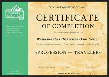 Сертификат курса профессия путешественник