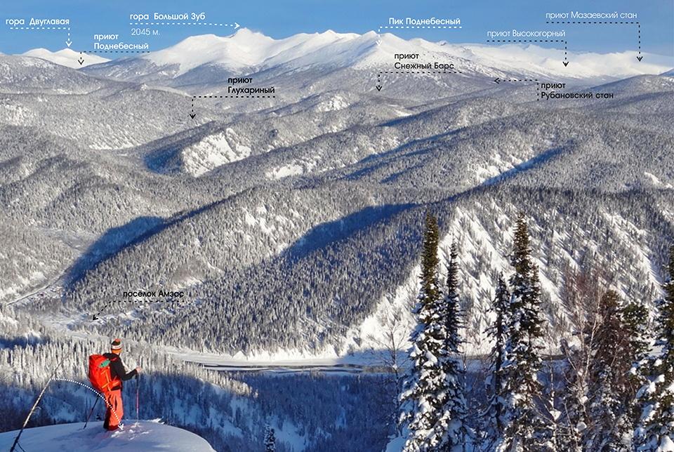 Поднебесные Зубья, вид на горы зима