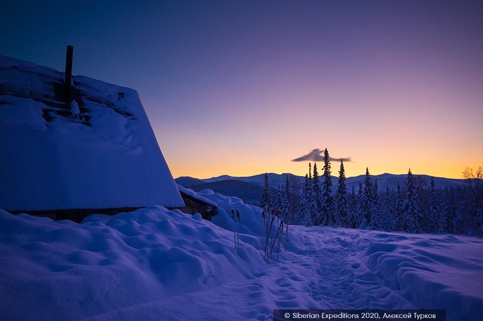 Лыжный тур по Сибири 2020, Поднебесные Зубья. Рубановский стан на рассвете