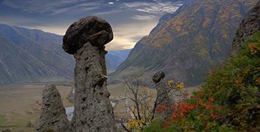 Каменные грибы в сентябре, осенний Горный Алтай