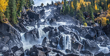 Водопад Учар в сентябре, осенний Алтай